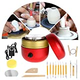 WICHEMI Mini Pottery Wheel Machine, Adjustable Speed Mini Electric Pottery Machine with Tray & 17-Piece DIY Pottery Tool Set for Kids, Adult, Beginners and Ceramics Art (Red)