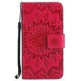 Ysimee Compatible con LG K5,Carcasa Libro de Cuero con Tapa Ultra Delgado Billetera Cartera Ranuras de Tarjeta,Soporte Plegable,Cierre Magnético Flip Cover -Rosa roja