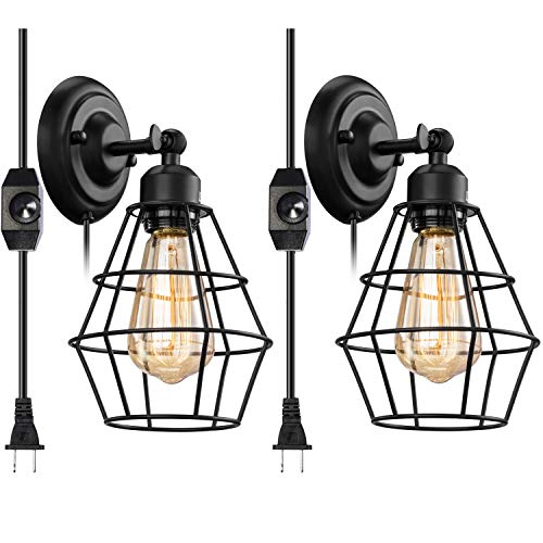 Vintage Plug in Dimmable Wall Sconce 2 Pack, Elibbren Hardwired Industrial Edison Wire Cage Wall Light with Dimmer Switch 5.9FT Plug in Cord, Rustic Wall Light Fixture for Headboard, Bedroom, Nightsta