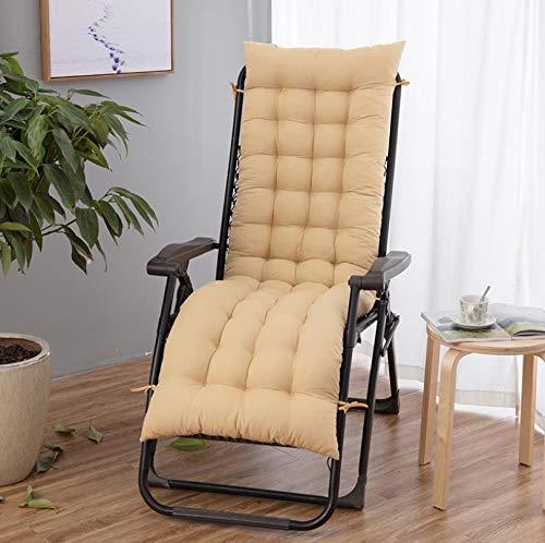 Cojines de jardín para tumbona de repuesto para patio clásico con lazos de fijación, cómodos y duraderos cojines de asiento portátiles, 48 x 155 cm, beige