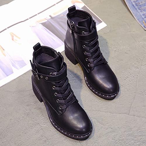 Shukun enkellaarsjes met hoge hakken dameslaarzen met Martin laarzen zijrits korte laarzen dik met korte laarzen herfst en winter enkele laarzen