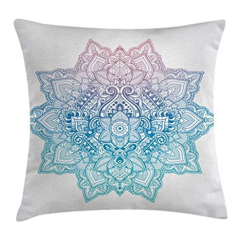 Fundas de Cojines Fundas Cojines Lotus, Estilo Bohemio del Tatuaje Mandala en Tonos Pastel Diseño Abstracto de la Flor de Loto, Funda de Almohada 18'x18'