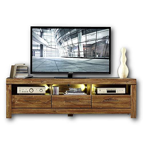 Stella Trading Gent Großes TV-Board in dunkler Akazie Optik mit LED-Beleuchtung - ausdrucksstarkes und rustikales Low-Board für Ihr Wohnzimmer - 200 x 60 x 54 cm (B/H/T)
