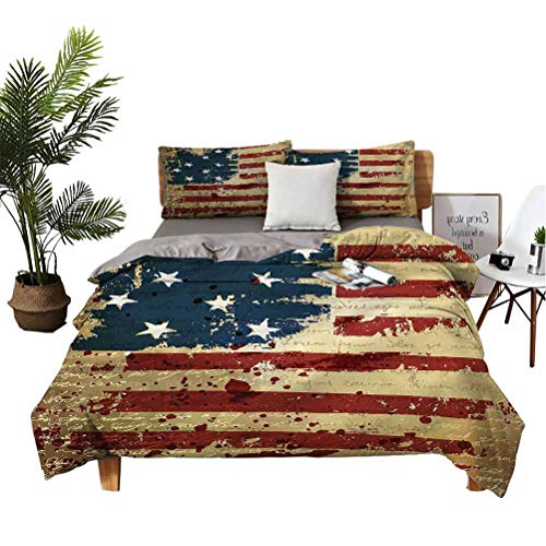 American Flag Comforter Cover 3 Pieces Bed Sets Vintage National Art Unisex Bedding Set California King