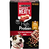 Purina Moist & Meaty High Protein Dry Dog Food, High Protein with Real Chicken & Beef - (4) 72 oz. Boxes