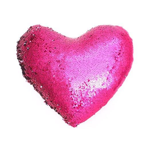 VORCOOL Lentejuelas en Forma de corazón Funda de Almohada Decorativa Throw Home Funda de Almohada Funda de cojín para el hogar Sala de Estar Dormitorio Sofá Biblioteca de café (Rosa Roja y Plata)
