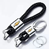 Hey Kaulor 2Pack Genuine Leather Car Logo Keychain For Chevrolet Key Chain Chevy Keyring With Logo
