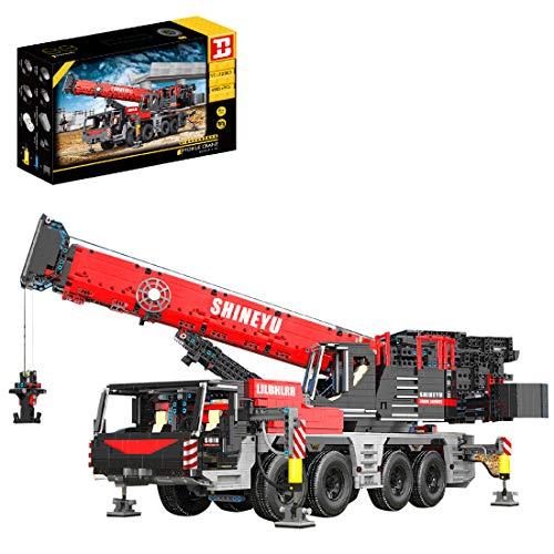 BGOOD Grúa, 4885 bloques de construcción de sujeción, grúa de carga pesada con 11 motor y mando a distancia, grúa, 2,4 G, doble mando a distancia, bloques de construcción compatibles con Lego Technic