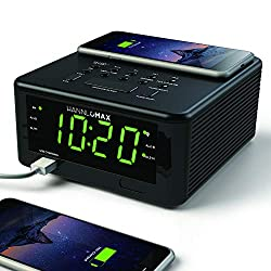 HANNLOMAX HX-107CR Qi Certified Wireless Charging Alarm Clock, PLL FM Radio, Bluetooth, Audio Sound, USB Port for 1A Charging, Green LED 1.2 Inches Display,Aux-in,Dimmer, Adaptor Included