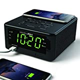 HANNLOMAX HX-107CR Qi Certified Wireless Charging Alarm Clock, PLL FM Radio, Bluetooth, Audio