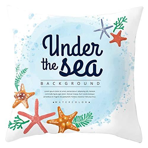 KnBoB Funda de Cojin 45 x 45 cm Under The Sea Estrella de Mar Blanco Azul Poliéster Estilo 28