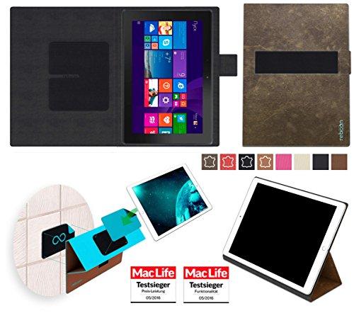 reboon Hülle für Dell Venue 10 Pro LTE Tasche Cover Case Bumper | Testsieger | Braun Wildleder
