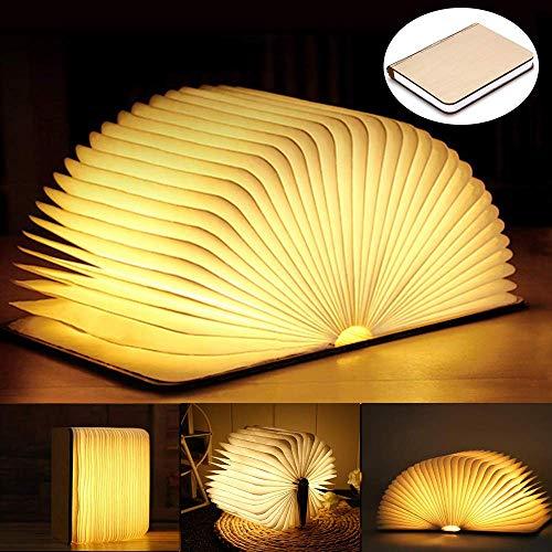 Faltbare LED Buchlampe, Hölzernes Tisch-/Schreibtischlampe aus Holz zum Lesen, Magnetisches LED-Licht USB Aufladbare Buchlampen, Tragbare Nachttischlampe Dekorative Licht, Tolles Geschenk