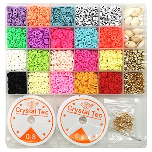 perfeclan 3622 Piezas de Cuentas de Arcilla polimérica, Cuentas Heishi de 6 mm, 18 Colores Brillantes, Cuentas espaciadoras Redondas Planas para Hacer Joyas,