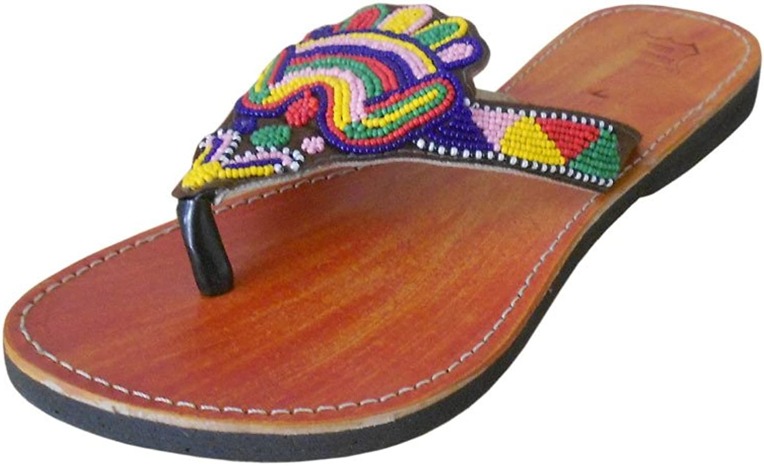 Kalra Creations Women's Traditional Indian Slippers shoes Leather with Sequence Work Ethnic Flats