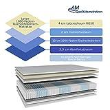 AM Qualitätsmatratzen - Premium Latex-Matratze 140x200cm H2-1000 Federn - Taschenfederkernmatratze - Matratze mit integrierter 4cm Latex-Auflage - 24cm Höhe - Made in Germany - 4
