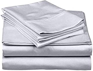 SanCozy 400 Thread Count Sheet Set 4 Piece Set Cotton Sateen Weave Bedsheet Breathable Fits up to 18 inches deep mattresse...