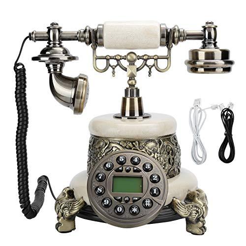 Junlucki TeléFono Fijo Retro con Cable   TeléFono Fijo de Estilo Retro Europeo   Teléfono Fijo Retro de Escritorio con Altavoz Manos Libres Teléfono Antiguo para el Hogar/Sala de Estudio/Otel