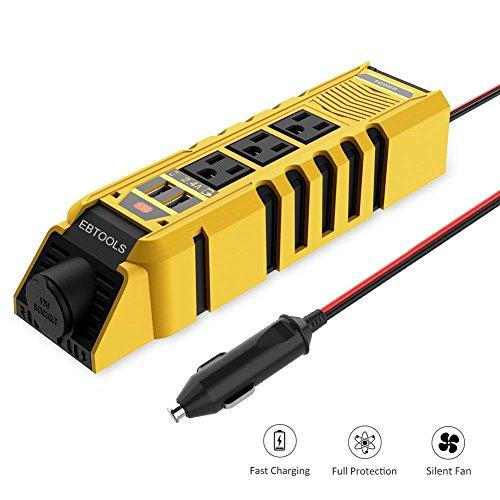 Fahrzeug-Wechselrichter, Gleichstrom-Wechselstrom-Wandler EBTOOLS Auto-Wechselrichter, 300-W-Wechselrichter 12-V-Gleichstrom-110-V-Wechselstrom-Autokonverter mit 3 Wechselstromsteckdosen