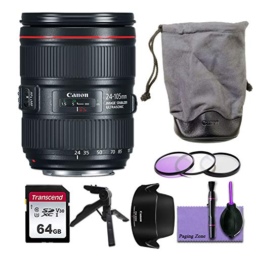 Canon EF 24–105mm f/4L is II USM Lens w/Deluxe Photo Bundle - Includes : Commander Optics 77mm Filter Kit, 64GB Transcend Memory Card, Canon EW-83M Lens Hood, Canon LP1219 Soft Lens Case and More