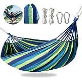 Gohytal Hamaca portátil para camping, 280 x 150 cm, hamaca doble para exteriores, soporta hasta 300 kg, ultraligera, con mosquetón/cuerda/bolsa de transporte para jardín/interior