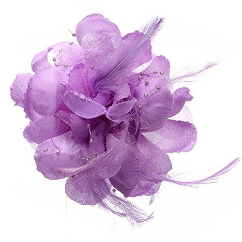 FACILLA® 160x100mm VIOLET Broche Barette Cheveux Fleur Plume Etoffe Déco Femme Soirée