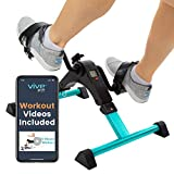 Vive Desk Bike Cycle - Foot Pedal Exerciser - Foldable Portable Foot, Hand, Arm, Leg Exercise Pedaling Machine - Folding Mini Stationary Bike Pedaler, Fitness Rehab Gym Equipment (Teal)