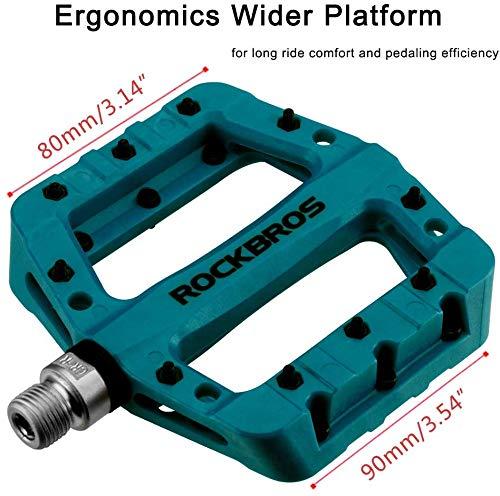 ROCKBROS Fahrradpedale Nylon Composite Flatpedale 9/16 Mountain Bike Pedale 3 Bearing rutschfest Wasserdicht Anti-Staub (Blau) - 2
