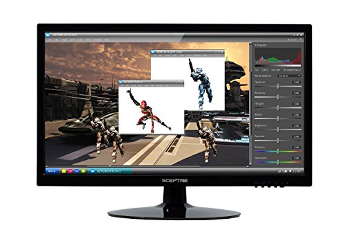 "Sceptre 20"" 1600x900 75Hz LED HD Monitor HDMI VGA Build-in Speakers, Metal Black 2019 (E205W-16008A)"