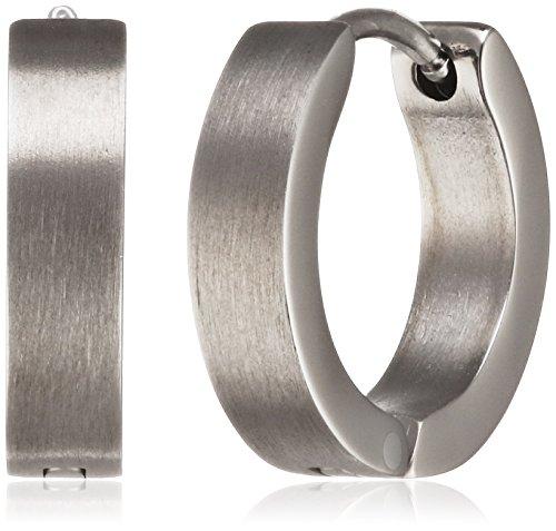 Pure Grey 23454 Women's Creole Earrings Zirconia Titanium Matt