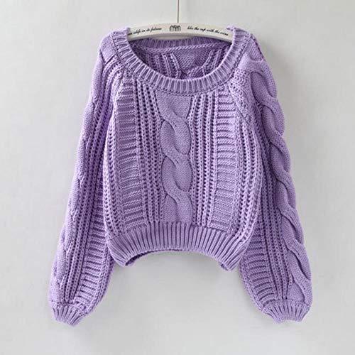 LASISZ Frauen ziehen Pullover warme Pullover und Pullover O Neck gelb Pullover Pullover schicke Kurze Pullover Twisted Pull, lila, Einheitsgrösse