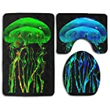 GGdjst Under Sea Colorful Jellyfish Black Non Slip 3 Piezas Juego de Alfombra de Baño Set Memory Foam Water Absorbent Bathroom Carpet U-Shaped Contour Rug + Lid Toilet Cover + Bath Rug