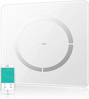 HONOR Scale 2 - Bascula de Grasa Corporal Bluetooth con pantalla LED de hasta 150kg, 11 Mediciónes de Peso IMC Visceral e Muscular para Android, Blanco