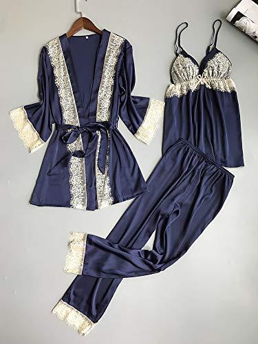 Dames Pyjama,3 Stks Sets Zijden Pyjama Vrouwen Sexy Kant Badjas + Pyjama Set Lingerie Set Luxe Nachtkleding Nachtkleding Homewear Loungewear