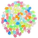 QULONG Decoraciones para jardín de Acuario 100 Piezas de Piedras de guijarros Luminosos Que Brillan en la Oscuridad Piedra de Grava Piedras de Colores Decoración de Acuario para peceras de jardín J