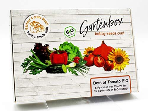 BIO-Tomaten Samen Set von bobby-seeds, 5 Favoriten-Sorten BIO-Tomatensamen als Set in repräsentativer Gartenbox, Samen-Set mit 5 Sorten und praktischen Stecketiketten