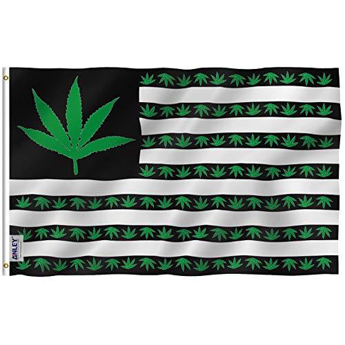 Anley Fly Breeze 3x5 Fuß Marijuana Leaf USA Polyester Flagge - Lebendige Farbe und UV-beständig - Canvas Header und doppelt genäht - US Marijuana Leaves Flags with Brass Grommets 3 X 5 Ft