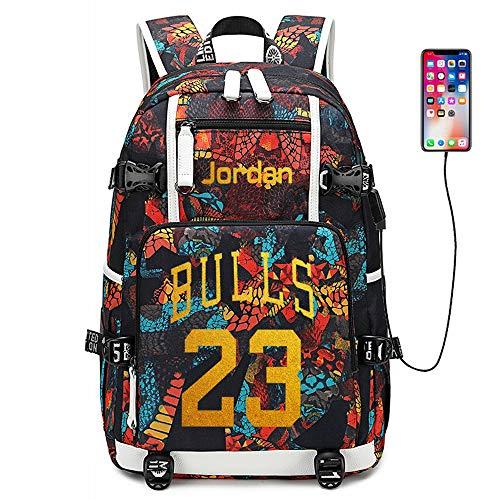 Stella del Giocatore di Basket Michael Jordan Zaino Multifunzionale Zaino da Viaggio per Studenti Fan Bookbag per Uomo Donna (Stile 2)