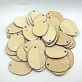 AmyGline 50pcs 50/60mm Ostereier Form Ovaler Holzspan Holz Ostereier