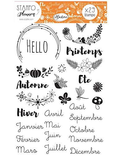 Aladine - Stampo Planner Saisons - Planche de Tampons Bullet Journal - Scrapbooking et DIY - Personnalisez vos Agendas et Carnets - Kit de 29 Tampons Motifs Saison