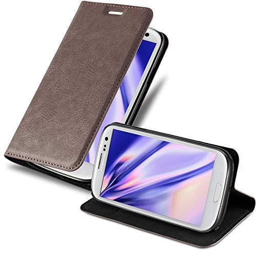 Cadorabo Hülle für Samsung Galaxy S3 / S3 NEO - Hülle in Kaffee BRAUN – Handyhülle mit Magnetverschluss, Standfunktion & Kartenfach - Hülle Cover Schutzhülle Etui Tasche Book Klapp Style