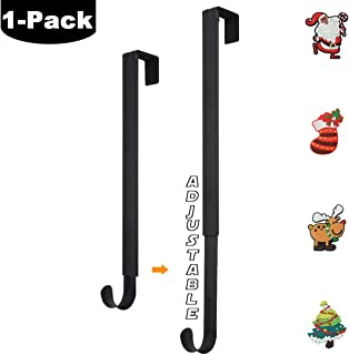 HangerSpace Wreath Hanger, 15-24 Inch Adjustable Length Metal Wreath Hanger for Front Door Christmas Decoration with 4 Removable Silicone Magnets, 20 lbs Strong Single Wreath Hook - Black
