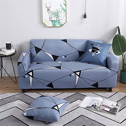 Funda de sofá Antideslizante de Poliéster Spandex Triángulo Azul Estampado,Funda elástica Antideslizante Protector Cubierta de Muebles para sofá de 3 plazas(1 Funda de Cojines)
