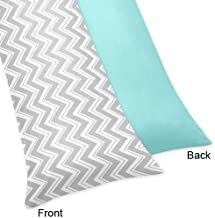 Sweet Jojo Designs Turquoise and Gray Zig Zag Full Length Double Zippered Body Pillow Case Cover