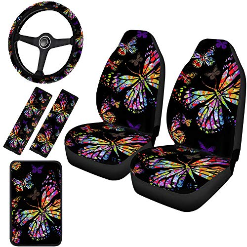 Horeset Watercolor Butterfly Design Car Seat Covers Full Set Includes 15inch Steering Wheel Cover & Center Console Armrest Cover & Automobile Safety Belt Covers Fit Most SUV Truck Vehicles