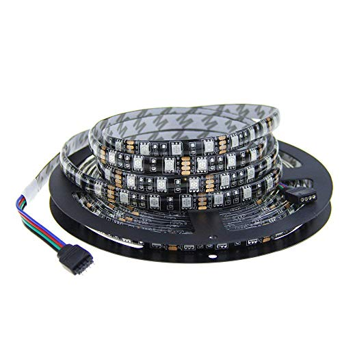ALITOVE 16.4ft 5M 300 LEDs Black PCB 5050 SMD Color Changing RGB LED Flexible Strip ribbon Light DC 12V Not Waterproof for Home Garden Commercial Area and Festival Decoration Lighting