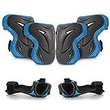 WayEee Protecciones de Patinaje para Niños Rodilleras Patinaje Ciclismo Bicicleta Monopatín Juegos de Protecciones Ajustables Infantiles para Deportes 6 pcs (Azul)