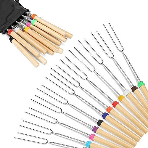 Portable Outdoor Camping Party Family Marshmallow Roasting Sticks Wooden Handle Set of 12 Skewers Telescoping Forks 32 Inch with Bag for Hot Dog Campfire Camping Stove BBQ Tools,Essential for home t