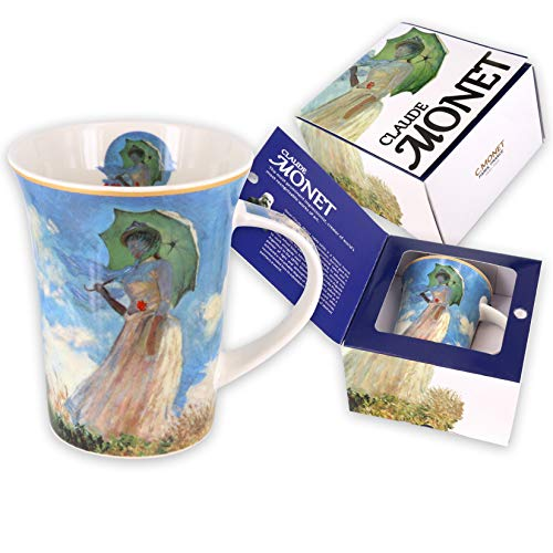 Carmani - Tazza di caffe o te in porcellana con Monet 'Donna con ombrellone' 350 ml