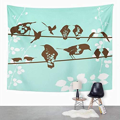 Tapiz azul claro Pájaros Tapiz marrón para dormitorio Decoración de la habitación Colgante de pared Arte de la pared Tapiz Estera de picnic Toalla de playa Cubierta de cama 150x179CM